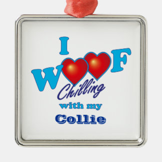 I Woof Collie Square Metal Christmas Ornament