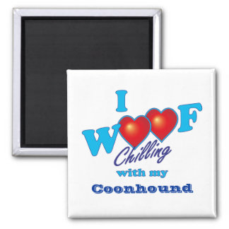I Woof Coonhound 2 Inch Square Magnet