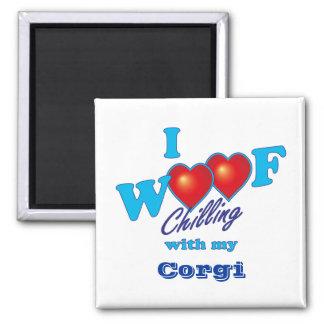 I Woof Corgi 2 Inch Square Magnet