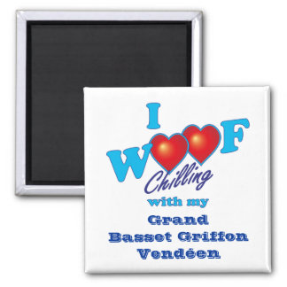 I Woof Grand Basset Griffon Vendeen 2 Inch Square Magnet