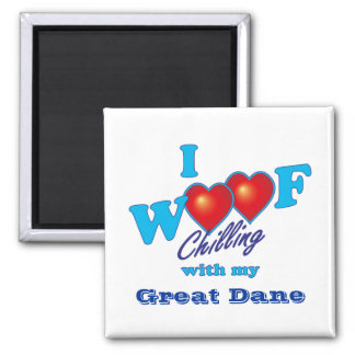 I Woof Great Dane 2 Inch Square Magnet