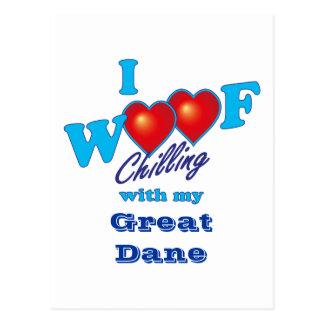 I Woof Great Dane Postcard