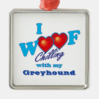 I Woof Greyhound Square Metal Christmas Ornament