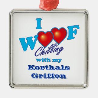 I Woof Korthals Griffon Metal Ornament