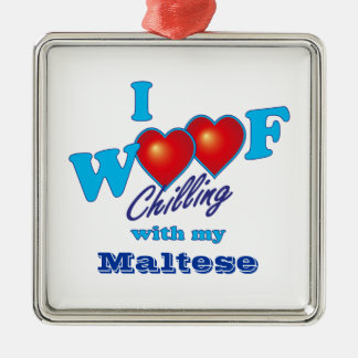 I Woof Maltese Square Metal Christmas Ornament