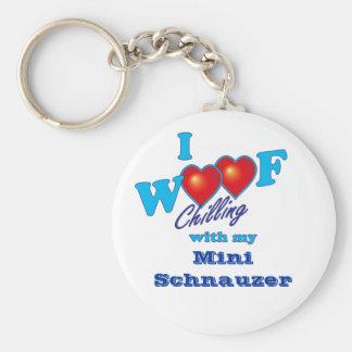 I Woof Miniature Schnauzer Keychain
