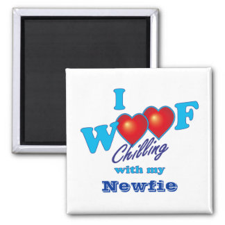 I Woof Newfie 2 Inch Square Magnet