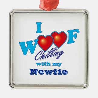 I Woof Newfie Silver-Colored Square Decoration