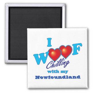I Woof Newfoundland 2 Inch Square Magnet