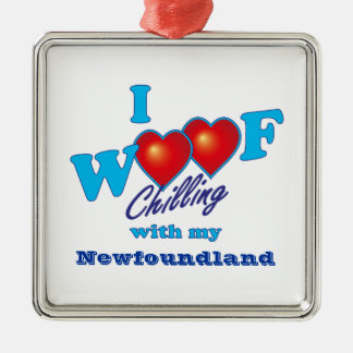 I Woof Newfoundland Silver-Colored Square Decoration