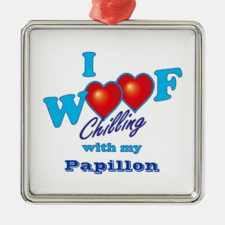 I Woof Papillon Square Metal Christmas Ornament