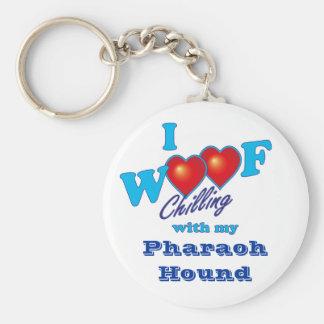I Woof Pharoah Hound Basic Round Button Keychain