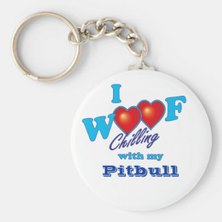 I Woof Pitbull Basic Round Button Keychain