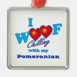 I Woof Pomeranian Christmas Tree Ornament