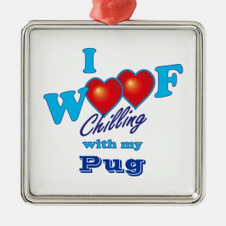 I Woof Pug Silver-Colored Square Decoration
