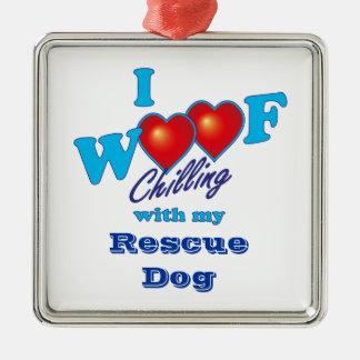 I Woof Rescue Dog Metal Ornament