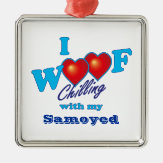 I Woof Samoyed Silver-Colored Square Decoration