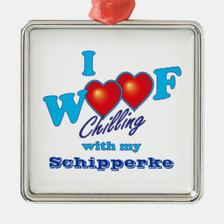 I Woof Schipperke Silver-Colored Square Decoration