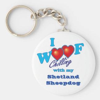 I Woof Shetland Sheepdog Basic Round Button Keychain