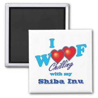 i Woof Shiba Inu 2 Inch Square Magnet