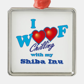 i Woof Shiba Inu Silver-Colored Square Decoration