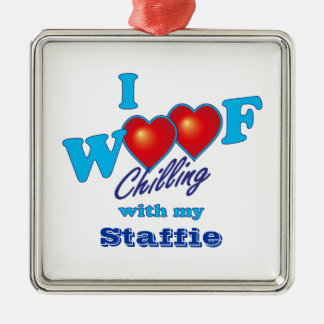 I Woof Staffies Square Metal Christmas Ornament