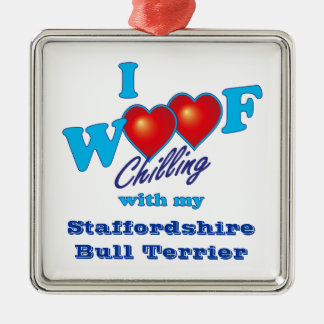 I Woof Staffordshire Bull Terrier Christmas Ornaments