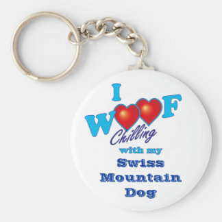 I Woof Swiss Mountain Dog Basic Round Button Keychain