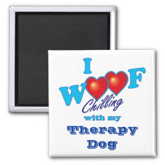 I Woof Therapy Dog 2 Inch Square Magnet