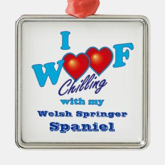 I Woof Welsh Springer Spaniel Metal Ornament