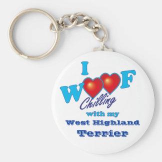I Woof West Highland Terrier Basic Round Button Keychain