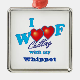 I Woof Whippet Square Metal Christmas Ornament