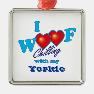 I Woof Yorkie Square Metal Christmas Ornament