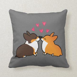 I Woof You Kissing Corgi Pillow   CorgiThings