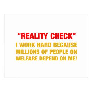 I work hard because millions on welfare depend on postcard