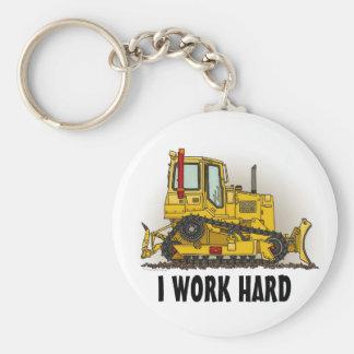 I Work Hard Big Bulldozer Dozer Key Chain