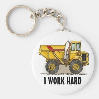 I Work Hard Big Dump Truck Key Chain
