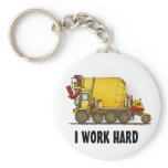 I Work Hard Cement Mixer Truck Key Chain