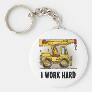 I Work Hard Crane Truck Key Chain