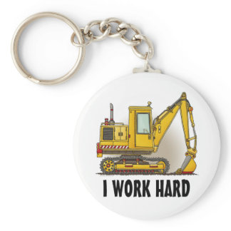 I Work Hard Digger Shovel Key Chain