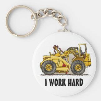 I Work Hard Earthmover Scraper Key Chain