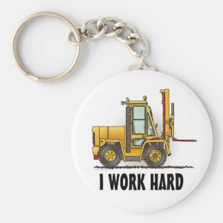 I Work Hard Forklift Truck Key Chain