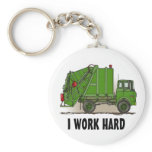 I Work Hard Garbage Truck Green Key Chain