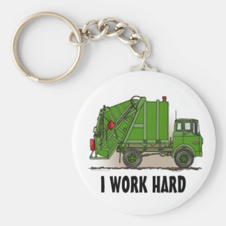 I Work Hard Garbage Truck Green Key Chain