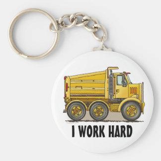 I Work Hard Highway Dump Truck Key Chain