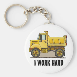 I Work Hard Little Dump Truck Key Chain
