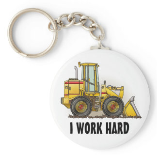 I Work Hard Loader Key Chain