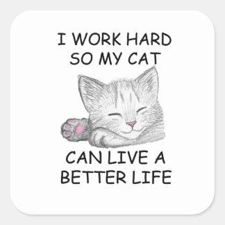 I Work Hard Square Sticker
