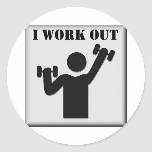I Work Out Round Sticker
