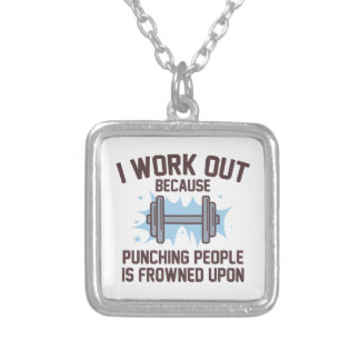 I Work Out Silver Plated Necklace
